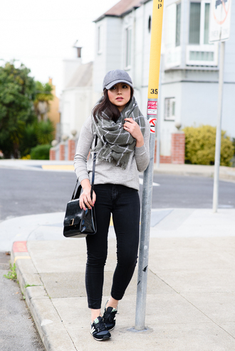 the fancy pants report blogger cap checkered sneakers sweater scarf hat bag shoes blanket scarf grey scarf
