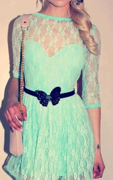 dress mint lace cute butterfly