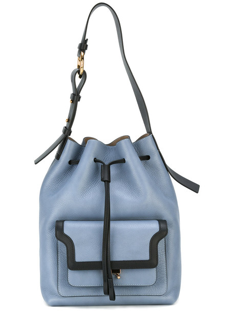 duffle bag bag leather blue