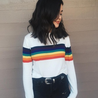 top rainbow sweatshirt lgbt soft grunge shirt t-shirt white striped shirt stripes sweater gay pride long sleeves clothes pride cute jessie paege
