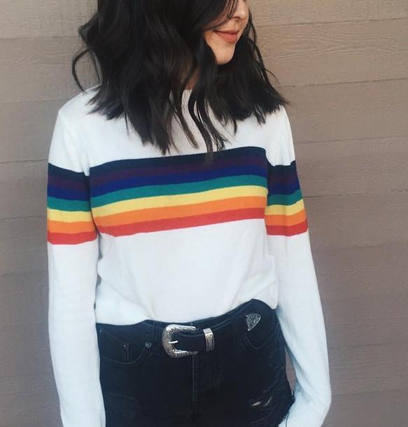 top rainbow sweatshirt lgbt soft grunge shirt t-shirt white striped shirt stripes sweater gay pride long sleeves clothes pride cute jessie paege