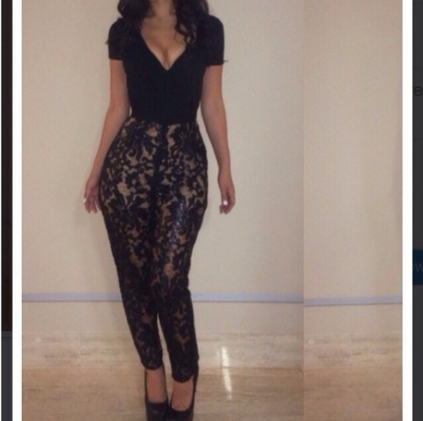 jumpsuit black lace