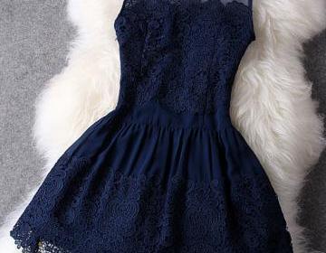 Short navy blue lace dresses, short..