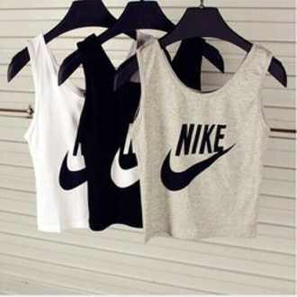 just do it fitness workout sportswear sportstop tank top top shirt nike crop crop tops black white grey blanc noir gris grey coton nike high tops blouse