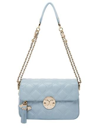 quilted bag shoulder bag leather light blue light blue