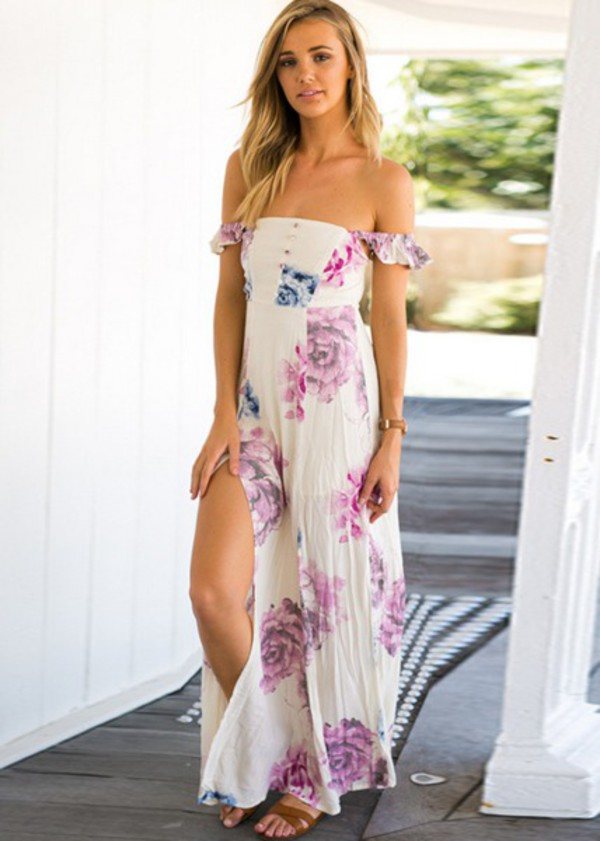 dress girl girly maxi dress maxi floral floral dress girly wishlist off the shoulder off the shoulder dress