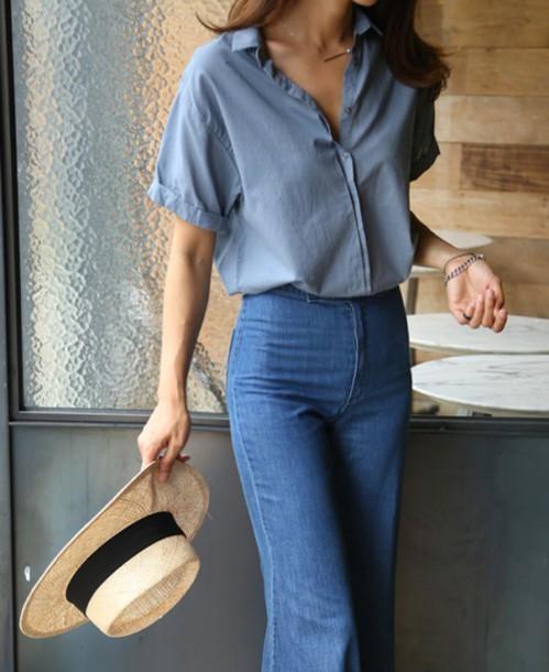 jeans tumblr flare jeans blue jeans shirt denim shirt. Black Bedroom Furniture Sets. Home Design Ideas