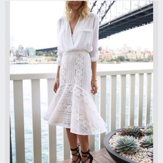 midi skirt mermaid white crochet blouse
