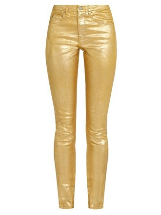 jeans metallic high fit gold