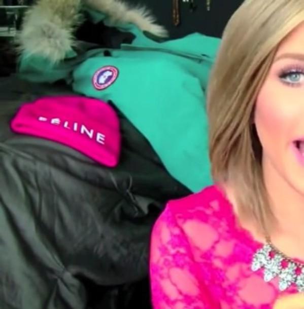 hat celine feline pink hot pink beanie celine hat youtuber gigi gorgeous gigi gorgeous coat