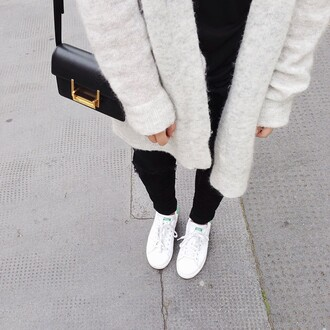 shoes tumblr sneakers low top sneakers white sneakers adidas adidas shoes stan smith jeans black jeans ripped jeans cardigan grey cardigan bag black bag
