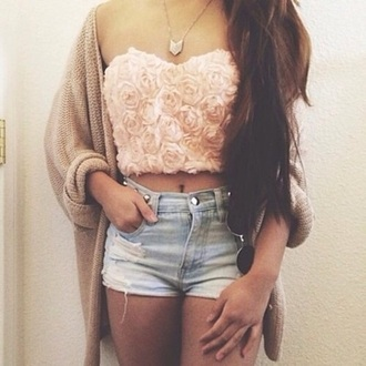 top crop tops flowers roses pink stomach strapless cardigan