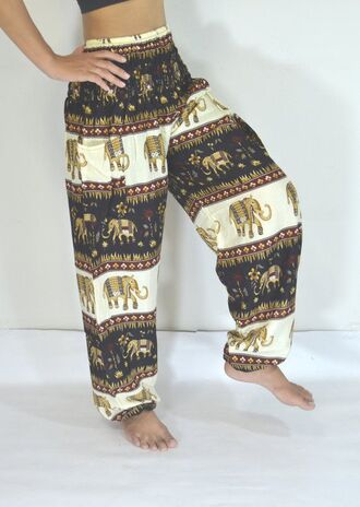 pants elephant harem harem pants boho yoga pants printed pants