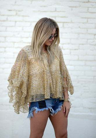 blonde bedhead blogger top shorts shoes jewels blouse tumblr yellow yellow top ruffle ruffled top denim denim shorts frayed denim spring outfits long sleeves sunglasses