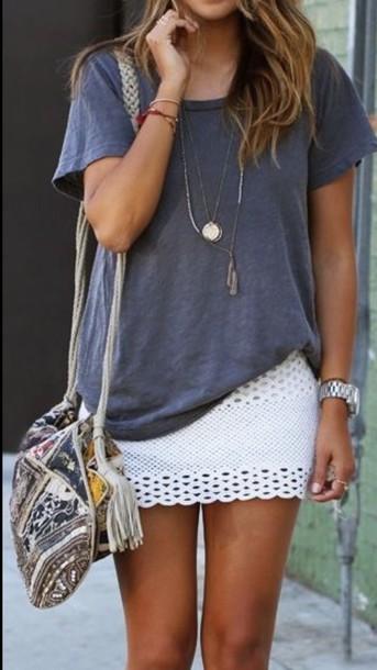 bag bag boho skirt white cut out skirt
