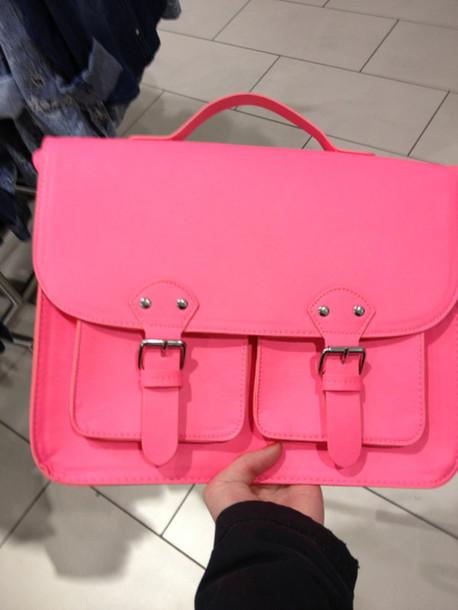 Bag Neon Pink Mate School Bag School Bag Silver Girly Girl Pretty Hot Pink Cute