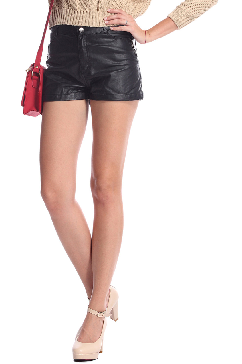 ROMWE | Rolled-cuffs Zippered Black Faux Leather Shorts, The Latest Street Fashion