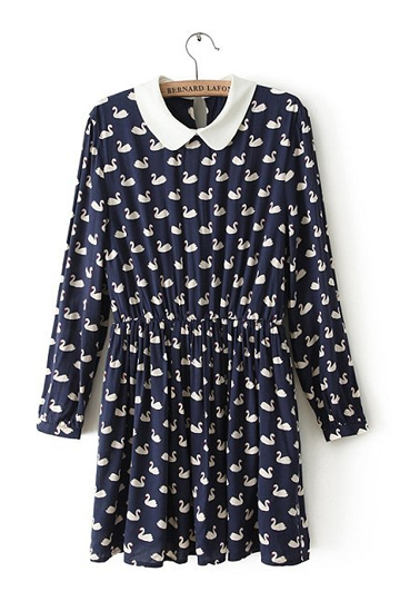 Vintage Swans Pattern Lapel Dress [FXBI00478]- US$ 25.99 - PersunMall.com