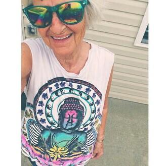hippie shirt tie dye funny shirt grandma blouse colorful boho buddha cuffs yin yang yin-yang top