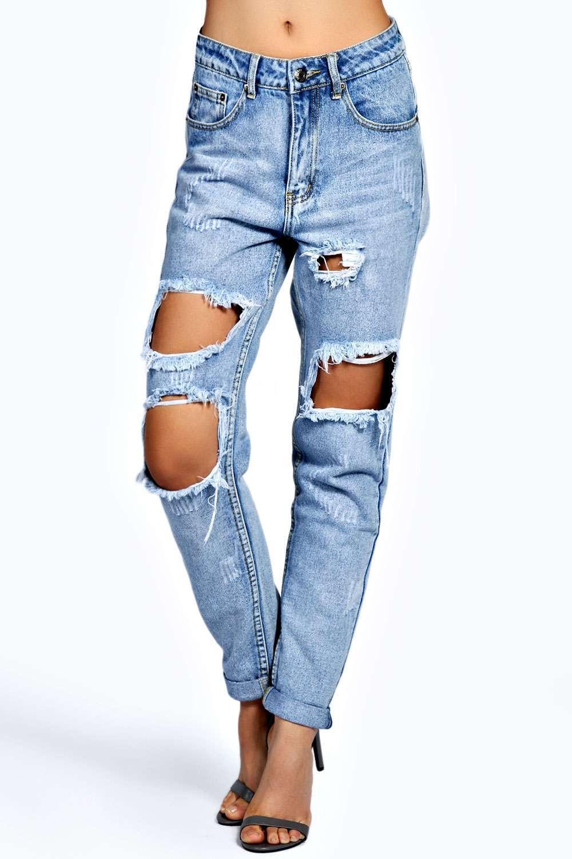 Brianna Extreme Ripped Boyfriend Jeans