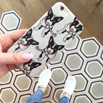 phone cover yeah bunny iphone case cover frenchie dog silver glitter frenchbulldog