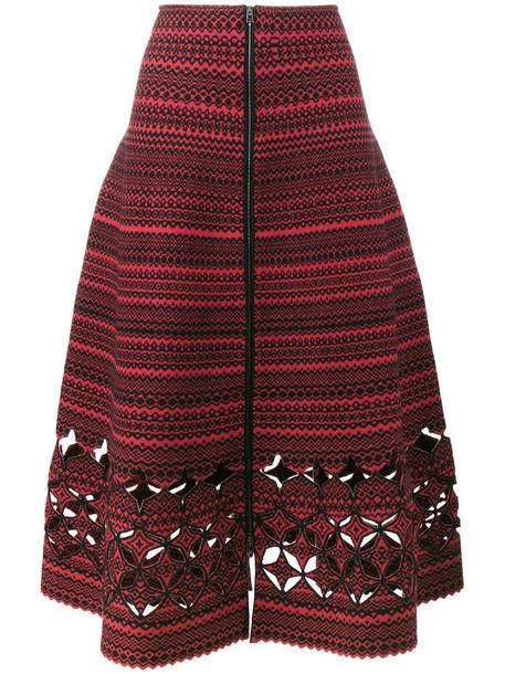 skirt a line skirt women spandex wool red
