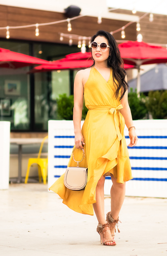 cute & little blogger shoes dress bag jewels sunglasses yellow dress wrap dress sandals spring outfits