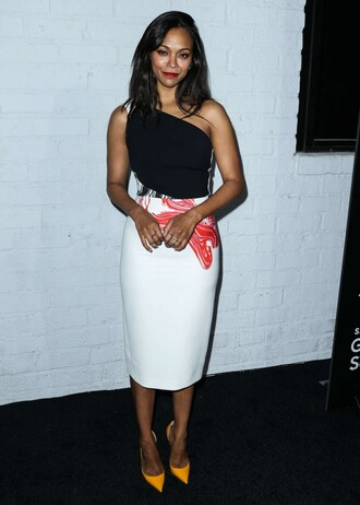 dress one shoulder zoe saldana pumps midi dress shoes