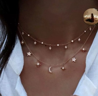 jewels necklace moon necklace stars
