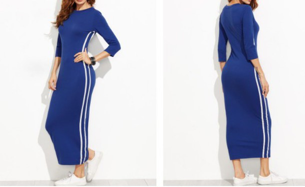 d23f84211846 dress girl girly girly wishlist blue blue dress maxi dress maxi bodycon  bodycon dress adidas stripes