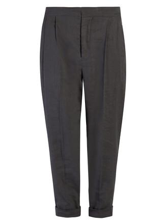 cropped high dark grey pants