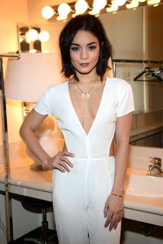 jumpsuit white backless vanessa hudgens boho coachella beach formal white jumpsuit