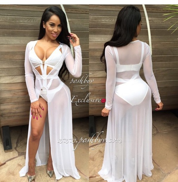 f46c329621e91d dope swimwear one piece swimsuit white lace dress long sleeves dress cover  up