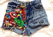 shorts,marvel,superheroes,denim,comics,instagram,fashion,geek,nerd,denim shorts,The Avengers,pants,High waisted shorts,colorful,marvel superheroes,spider-man,captain america,hulk,x-men,iron man