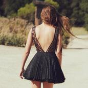 dress,black,lace,short,low back,v back,backless,brunette,pink
