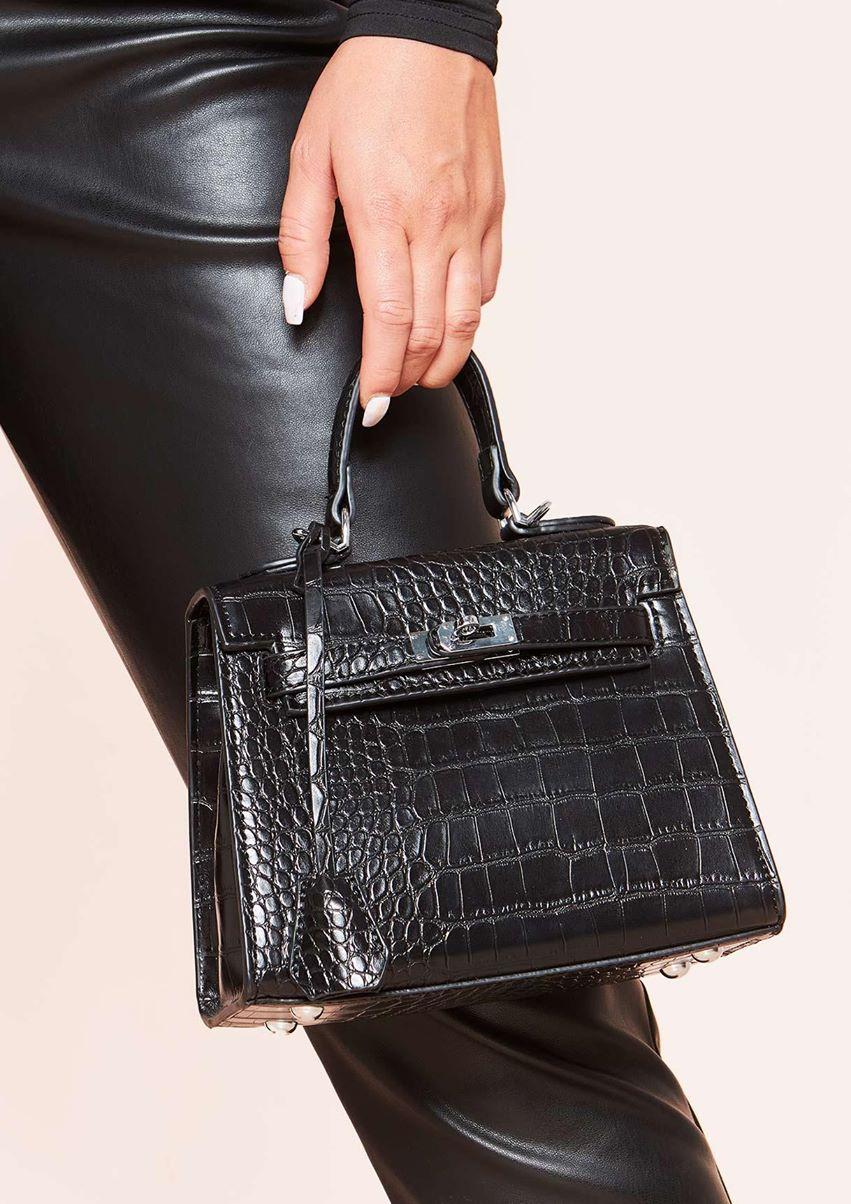 Vanessa Black Croc Print Mini Bag