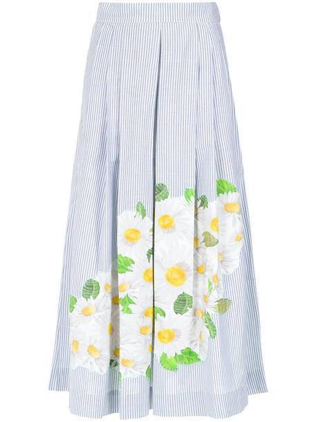 isolda skirt embroidered women daisy cotton print blue