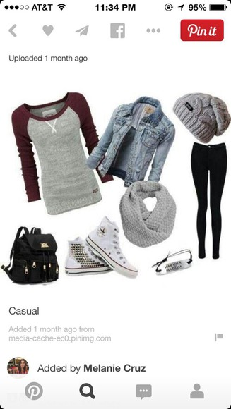 black jeans grey and burgundy  shirt. jean jacket studded shoes grey beanie grey scarf black backpack