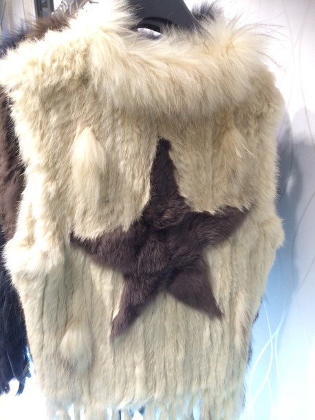 jacket fur vest with a star
