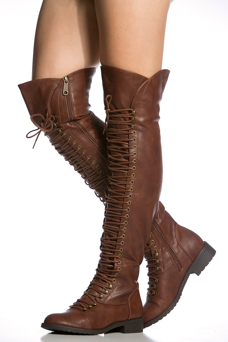 brown faux leather thigh high combat boots cicihot boots