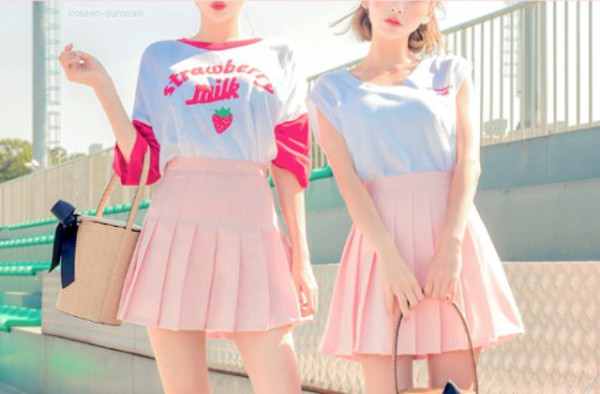 shirt korean fashion milk cute aesthetic strawberry