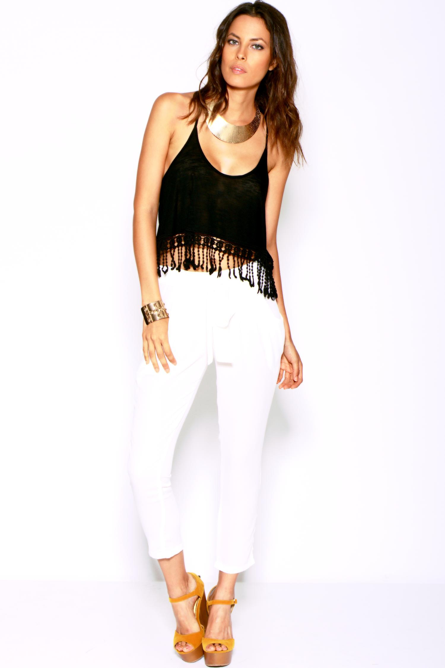 White pocketed tie front silky satin harem pants