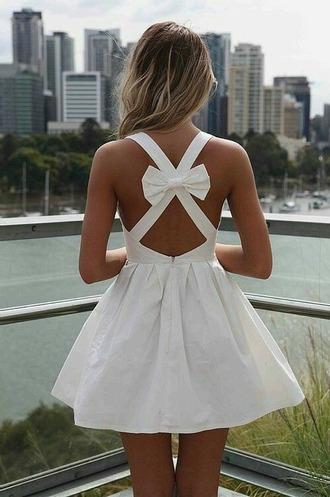 dress white dress noeud cute dress bow dress