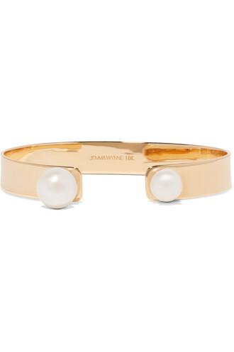cuff pearl gold white jewels