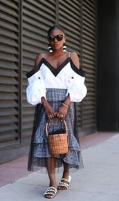 skirt,gingham skirt,midi skirt,ruffle skirt,mesh overlay skirt,balloon sleeves,slide shoes,basket bag,earrings,blogger,blogger style,off the shoulder top