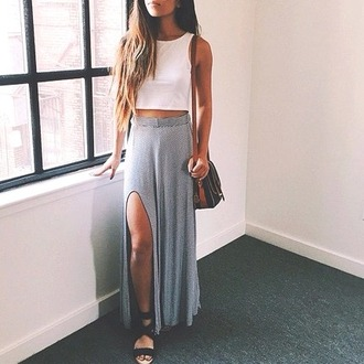 skirt sandals crop tops bag