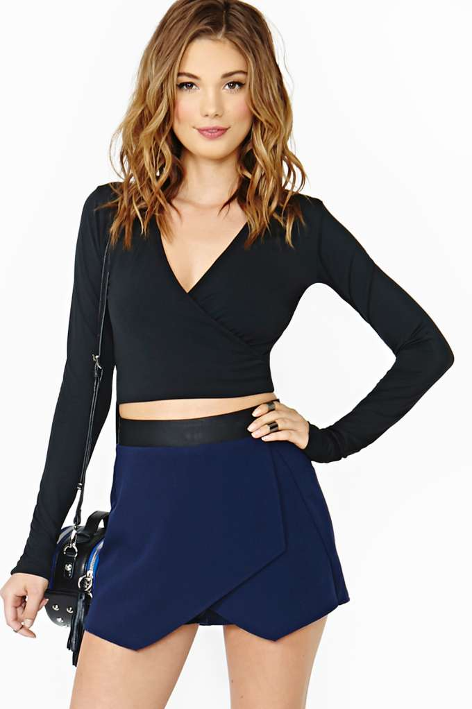 Motel Night Wrap Crop Top in  Clothes Tops Cropped at Nasty Gal