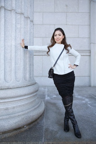 wearing fashion fluently blogger knee high boots leather boots black skirt white jacket