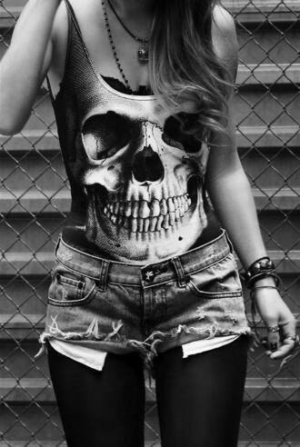 tank top skull rock shorts tights rock chick rock outfit punk