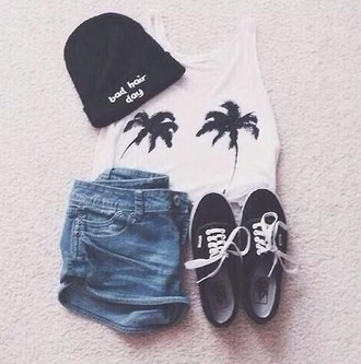 shirt beanie palm tree print white black shorts denim shorts jeans vans crop tops crop top graphic tee bad hair day hat bad hair day beanie hat shoes beenie beenies